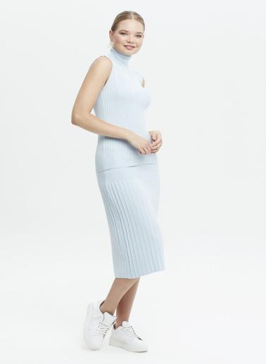 Stamina Stamina Premium  Bayan Balıkcı Yaka Kısa Kol Kazak Mavi